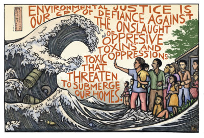 """Mutual Aid Disaster Relief Artwork by Ricardo Levins Morales In this piece, people stand up against a tidal wave of environmental destruction. """"Environmental justice is our cry of defiance against the onslaught of oppressive toxins and toxic oppressions that threaten to submerge our homes."""" The costs of this tidal wave are borne most heavily by the poor, Indigenous people, and people of color. Air, water, and people all need protection. (Yes, this illustration is a spinoff of the famous """"Great Wave"""" print by Japanese artist Hokusai.) #environmentaljustice #justrecovery"""