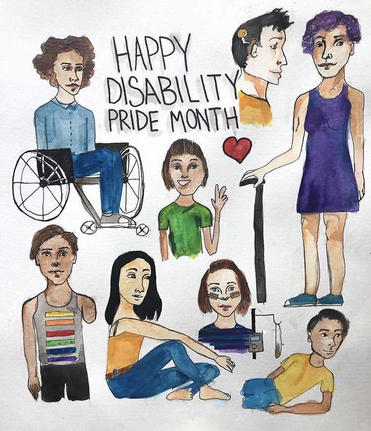 Disability pride month celebrated in this artwork by Jude Brzozowski.