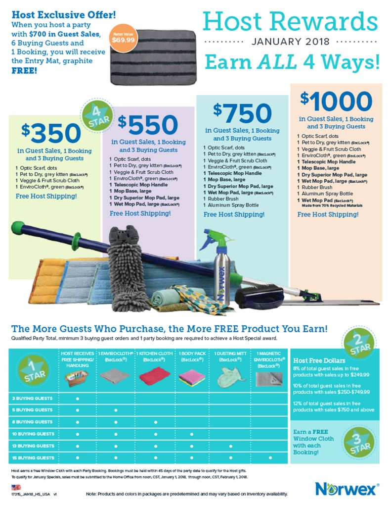 January 2018 Norwex Host Rewards