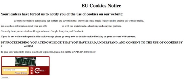 Adsense cookie notice for EU visitors