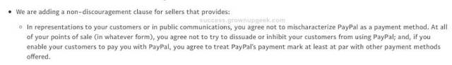 Paypal non-discouragement clause