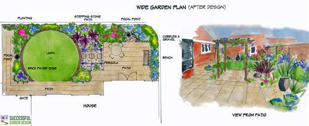 Garden Design Rectangular Plot wide garden design case study