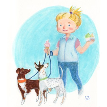 This is an artist's rendering of juggling ice creams and doggies!