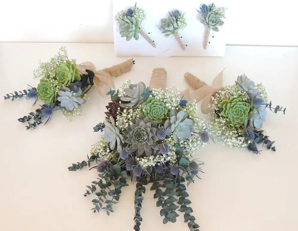 Succulent Bouquet Blue Thistle