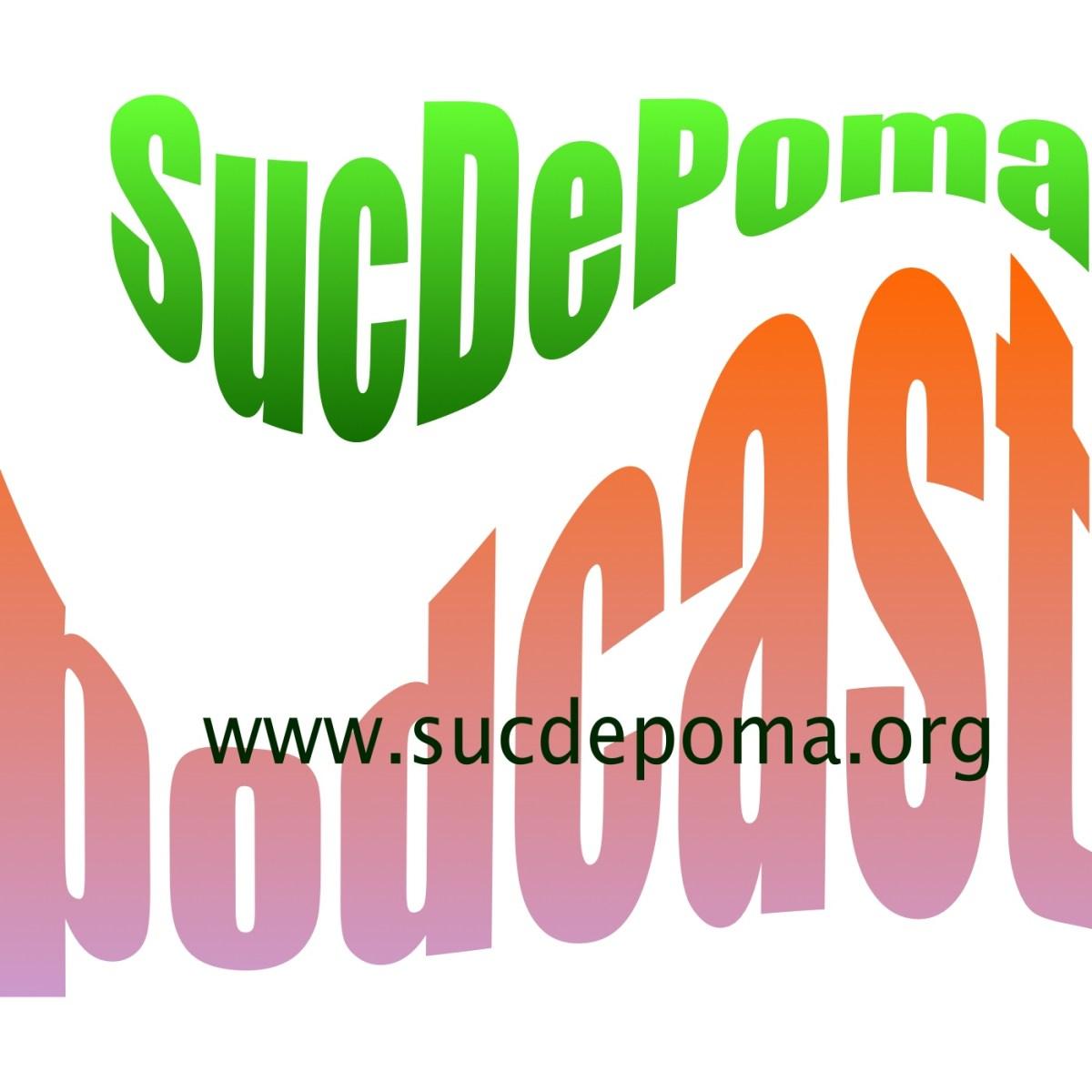 Logotipo de Suc de poma representado por una manzana mordida, atravesada diagonalmente por una pajita.