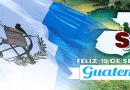 Arte de Sucesos por la independencia de Guatemala, tiene un quetzal, la bandera, el gran jaguar y el logo de sucesos