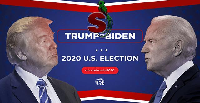 Afiche de las elecciones USA 2020 Donald Trump vrs Joe Biden en un fondo azul