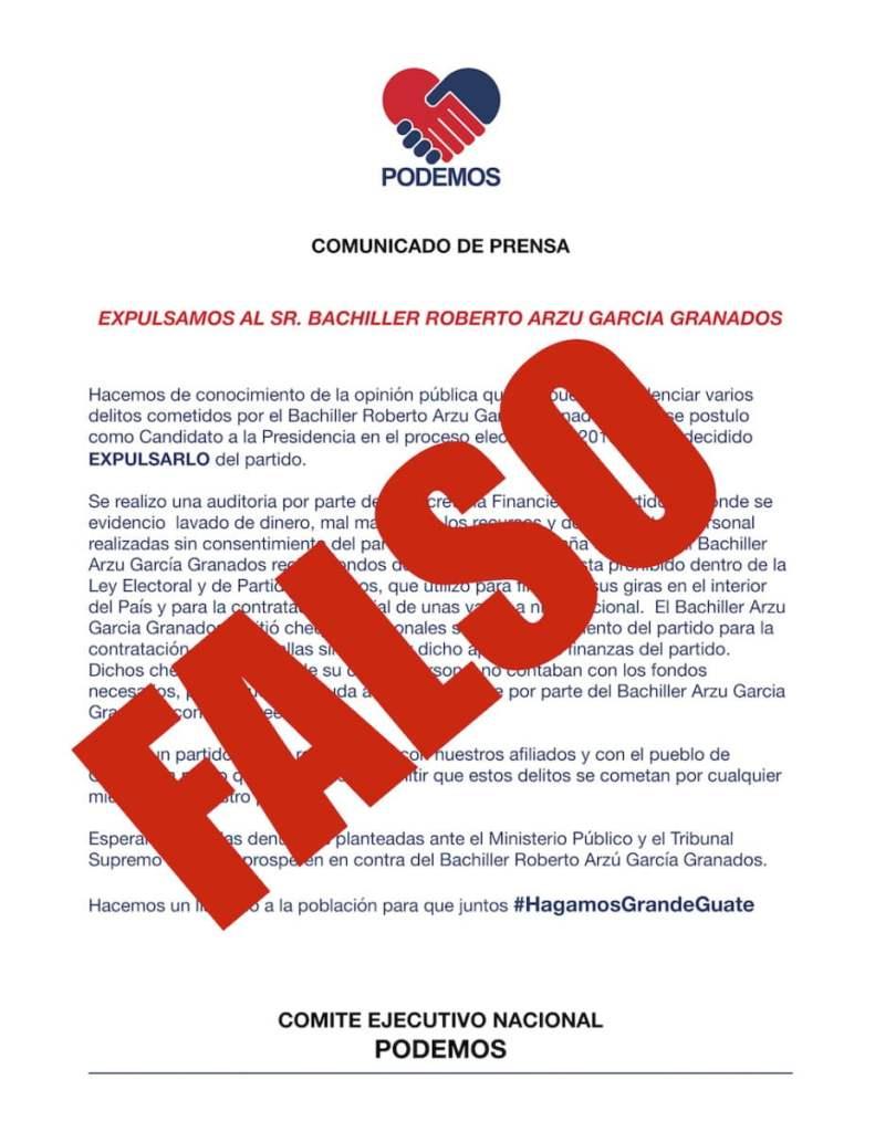 Comunicado falso publicado en las redes del partido PODEMOS