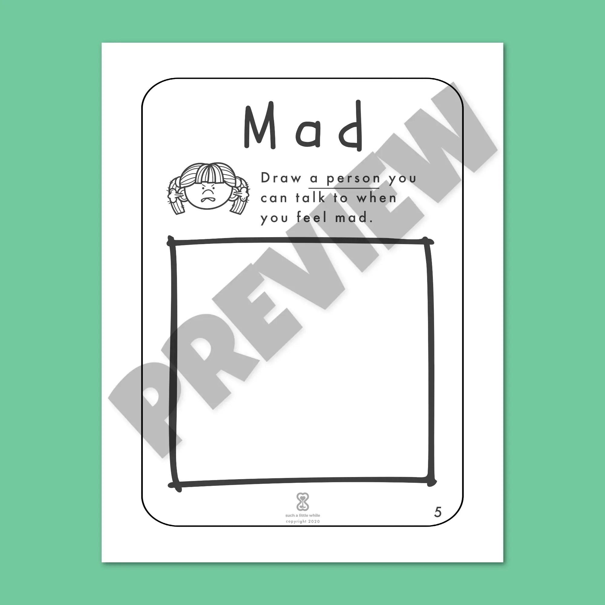 It S Okay To Feel Mad Printable Pre K Anger Worksheet