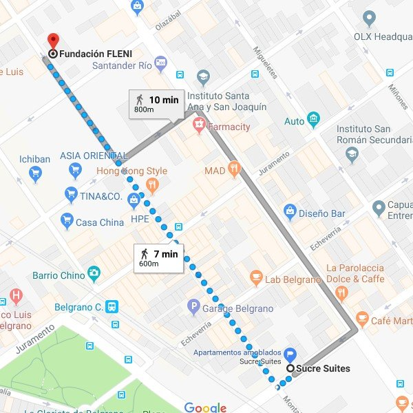 Mapa de Sucre Suites alojamiento cerca del Fleni Belgrano