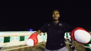 Arrafat Abkar, 22, waits in the ring during boxing practice at Nile Club in Khartoum May 9, 2016. REUTERS/Mohamed Nureldin Abdallah