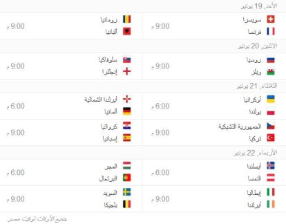 جدول يورو 3