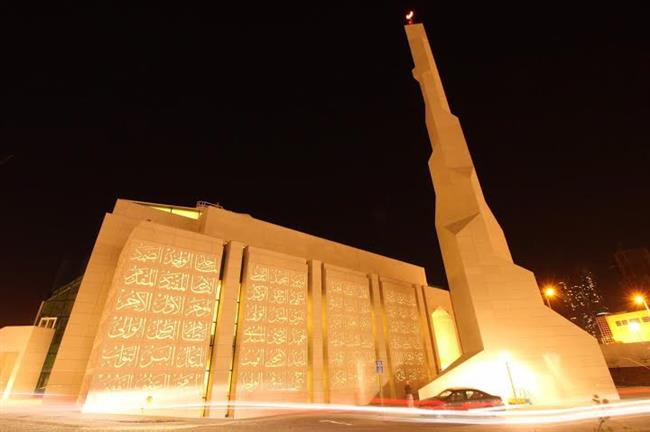 بالصور .. إنشاء مسجد مغطى بأسماء الله الحسنى في أبوظبي