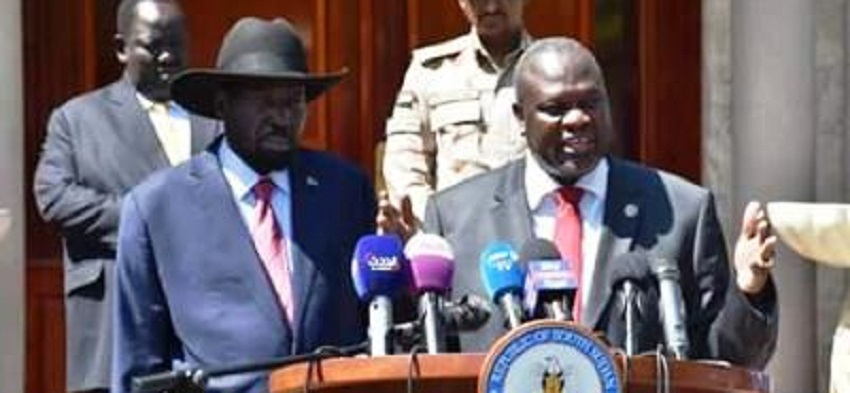 South Sudan President Salva Kiir (left) and First Vice President Dr. Riek Machar (right) speaks to reporters in Juba on Tuesday, Dec. 17, 2019 (Photo credit via PPU)