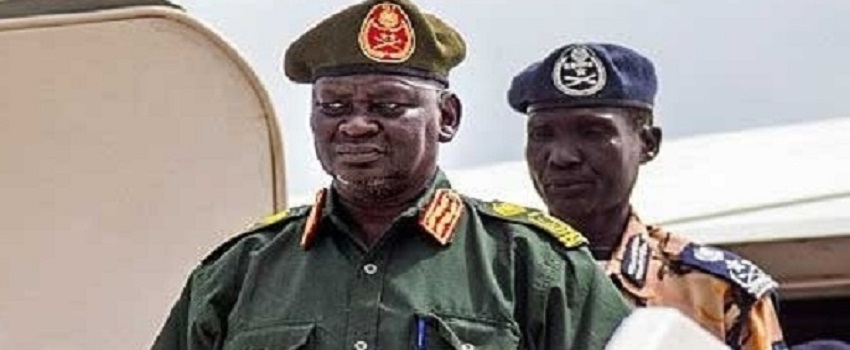 SPLA-IO chief of staff Gen. Simon Gatwech Dual arriving in Juba in April 2016 ahead of the group's leader Dr. Riek Machar Teny [Photo by unknown]