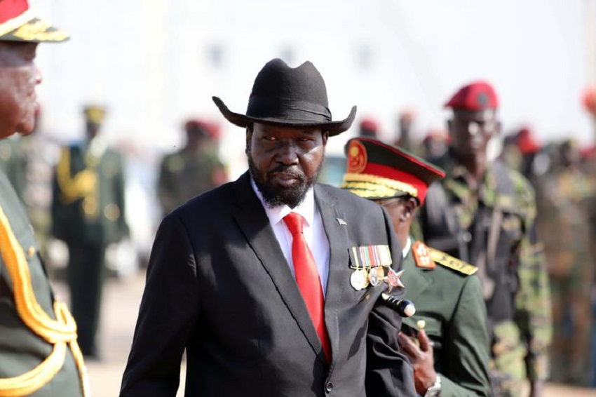 South Sudan's president Salva Kiir attends a medals awarding ceremony for long serving servicemen of the South Sudan People's Liberation Army (SPLA) in Bilpam, military headquarters in Juba, South Sudan January 24, 2019.[Photo by Samir Bol REUTERS]