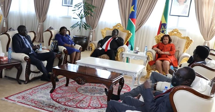 High-Level South Sudan delegation in Addis Ababa, Ethiopia [Photo by presidency]