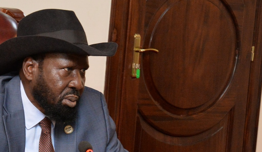 President Salva Kiir Mayardit speaking during swearing ceremony of recently appointed government officials on Tuesday, August 17, 2021. [Photo via presidency]