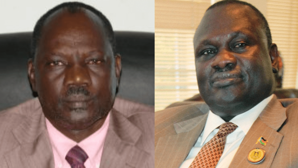 Information minister Michael Makuei (left) and First Vice President Dr. Riek Machar Teny are some of the most notable South Sudanese alumni of the Khartoum University. [Photo via Getty Images]
