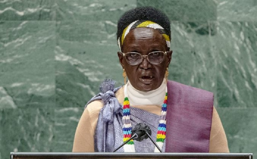 South Sudan Vice-President for Youth and Gender Cluster Rebecca Nyandeng De Mabior addressing the general debate of the UN General Assembly's 76th session. [UN Photo/Cia Pak]