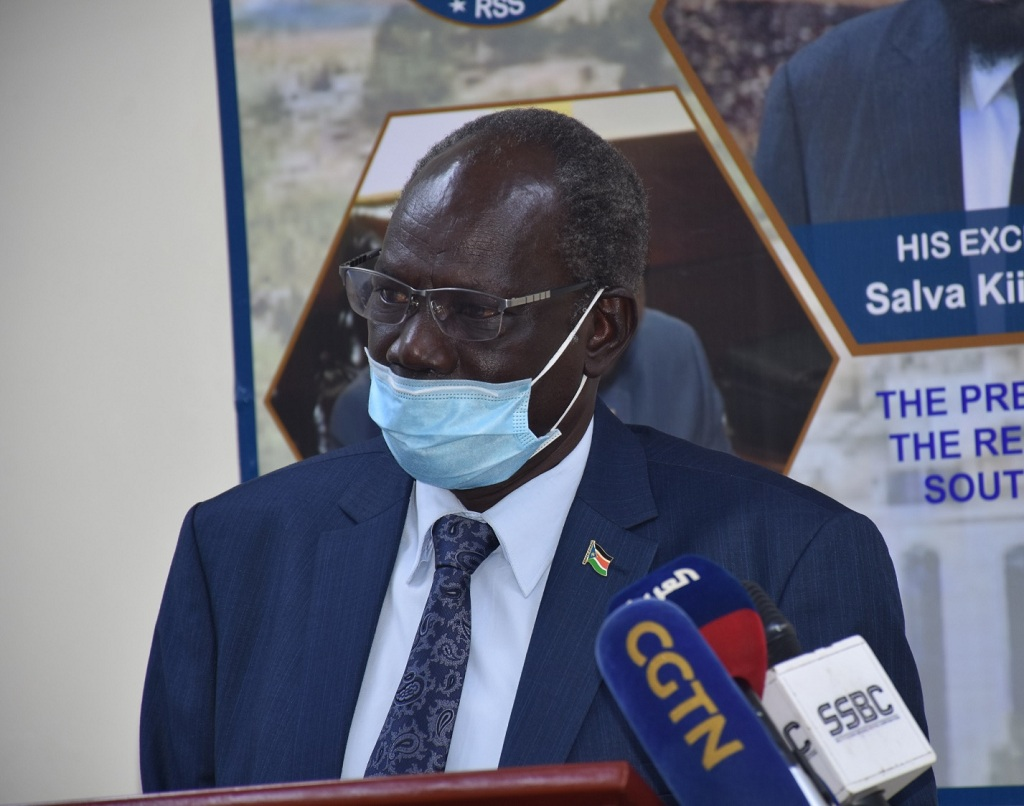 Minister of Information Telecommunication and Postal Services, Michael Makuei addresses media at the ministry's conference hall on Tuesday January 16, 2021 [Photo by City Review]