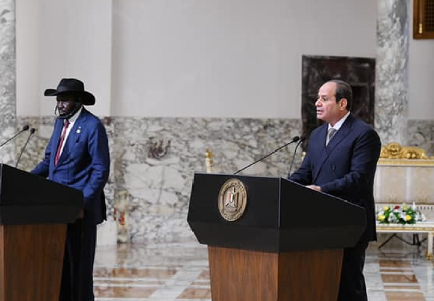 Egyptian President Abdelfattah al Sisi (right) holding press conference with South Sudan President Salva Kiir Mayardit (left) in the Egyptian capital Cairo on Sunday, October 10, 2021. [Photo by the Egyptian presidency]