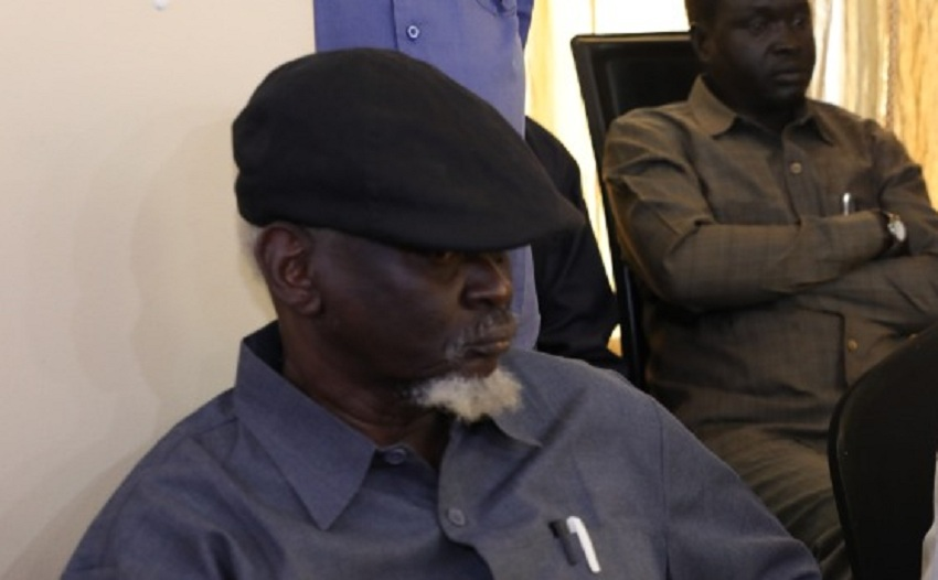Factional SPLM-IO leader Gen. Simon Gatwech Dual looks during a meeting with government delegation in the Sudanese capital Khartoum on October 2, 2021. [Photo via Facebook]