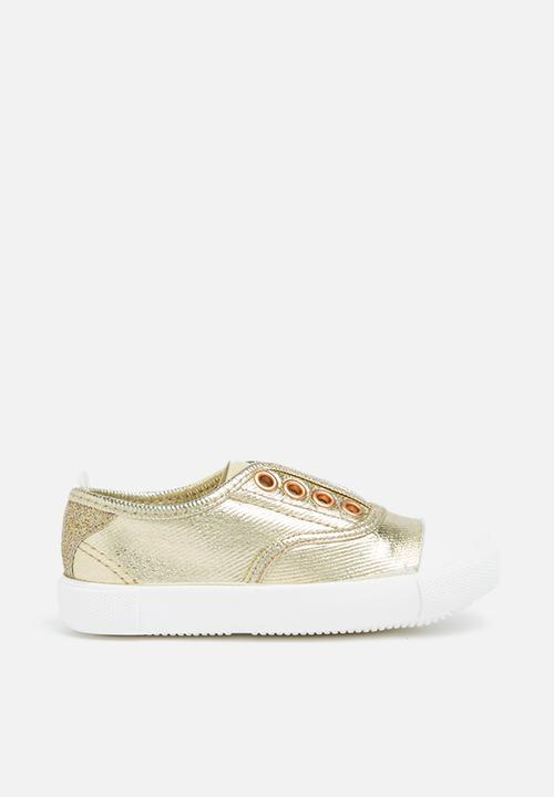 Gold slip-on shoes for girls