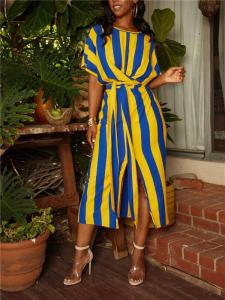 Blue and Yellow striped dress with belt