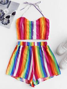 Colorful striped short set