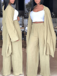 Light Khaki Slouch Pant Set