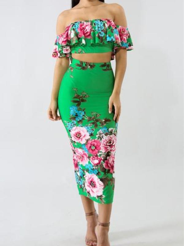 2 piece off shoulder dress