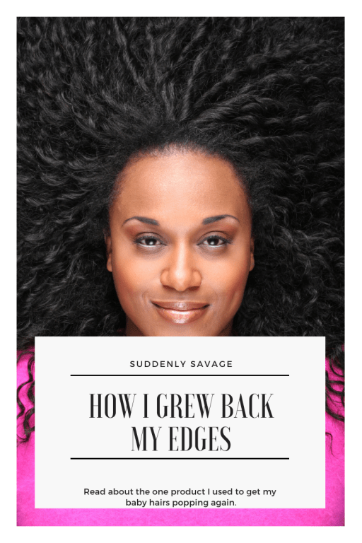 Blog post thumbnail with article title for hairline enhancer. Grow back your edges.
