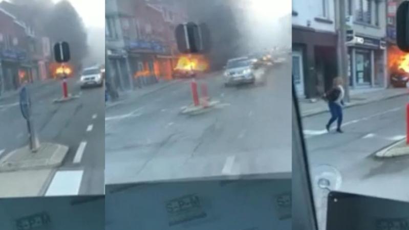 Une voiture folle filmée à Liège ce matin: en feu et sans conducteur, elle roule toute seule avant de percuter une façade (vidéo)