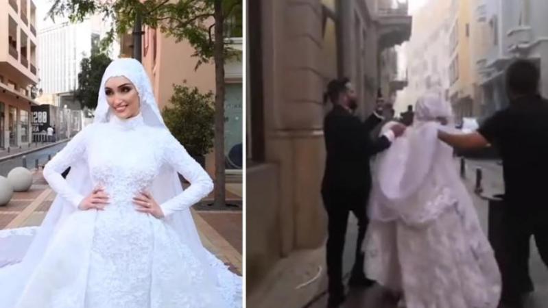 Cette jeune mariée était en pleine séance photo quand les explosions ont retenti à Beyrouth: la terrible scène a été filmée (vidéo)