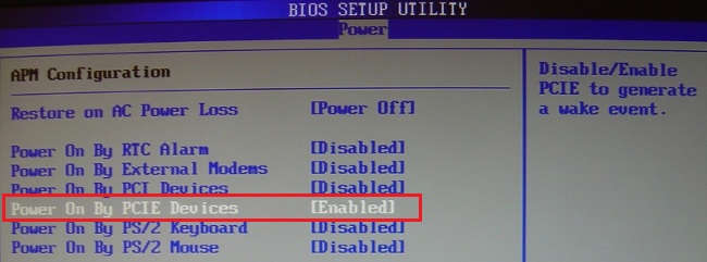 BIOS - Enable Wake-On-Lan
