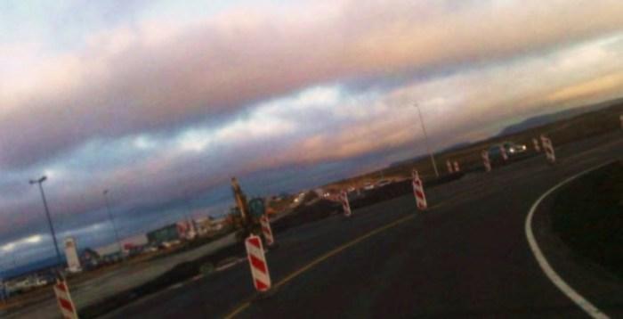 Frá framkvæmdum við hringtorg á Reykjanesbraut - Til stóða að breyta gatnamótum við Hafnarveg á sama tíma, en það tókst ekki af ýmsum ástæðum