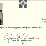 Grindvíkingar fengu kveðju frá forsetanum