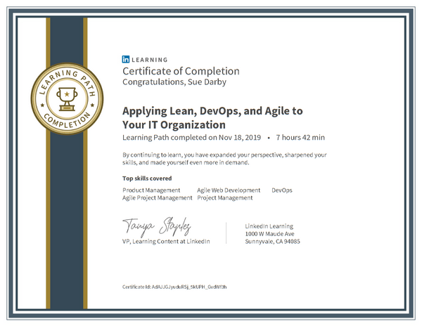 Certificate Of Completion Applying Lean Devops And Agile To Your It Organization