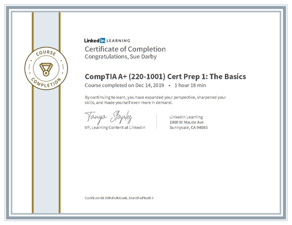 Certificate Of Completion Comptia A Plus 220 1001 Cert Prep 1 The Basics