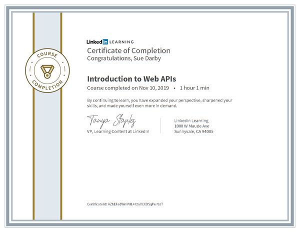 Certificate Of Completion Introduction To Web Apis