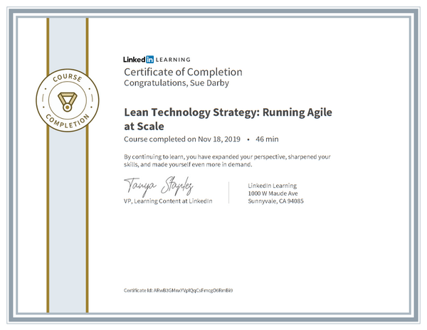Certificate Of Completion Lean Technology Strategy Running Agile At Scale