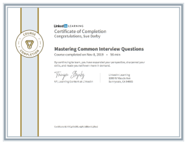 Certificate Of Completion Mastering Common Interview Questions