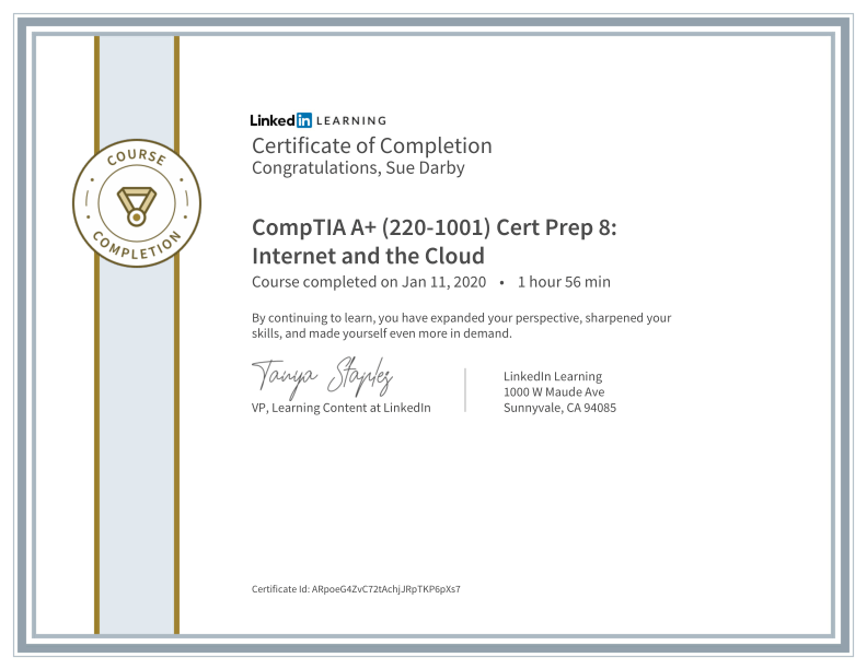 Certificate Of Completion Comptia A Plus 220 1001 Cert Prep 8 Internet And The Cloud