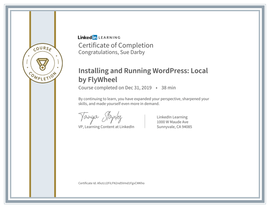 Certificate Of Completion Installing And Running WordPress Local By Flywheel