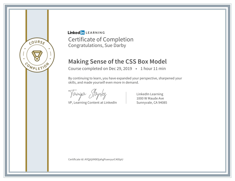 Certificate Of Completion Making Sense Of The CSS Box Model