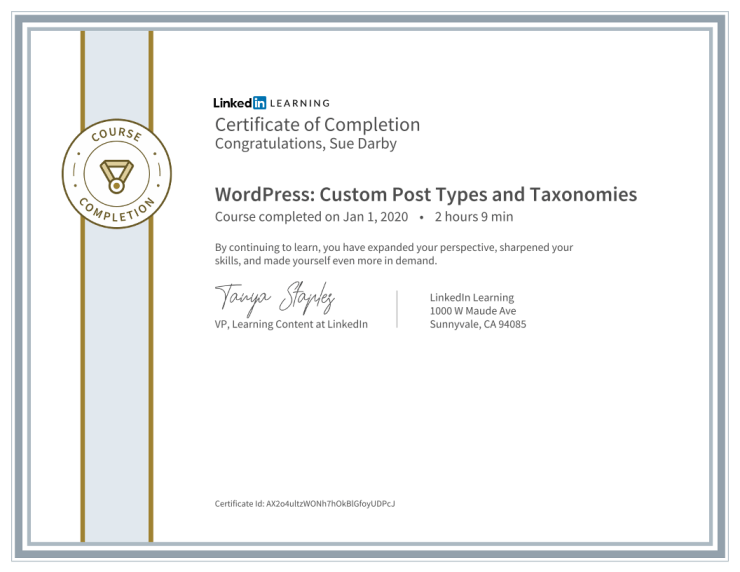 Certificate Of Completion WordPress Custom Post Types And Taxonomies