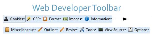 Web Developer Toolbar Screenshot