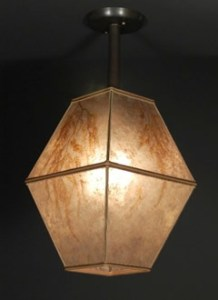 Double Square Mica Hanging Lamp Ceiling Light Fixture   Sue Johnson c127 Double Square Mica Hanging Lamp ceiling light fixture with Maidenhair  fern