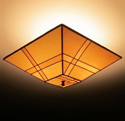 Pieced Parchment Paper Square ceiling lamp shade   Sue Johnson     Pieced Parchment Paper Square ceiling lamp shade